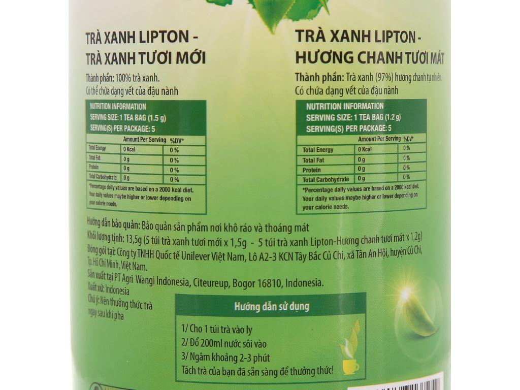 Trà xanh Lipton bung tỏa hương chanh ống mini 13.5g 5