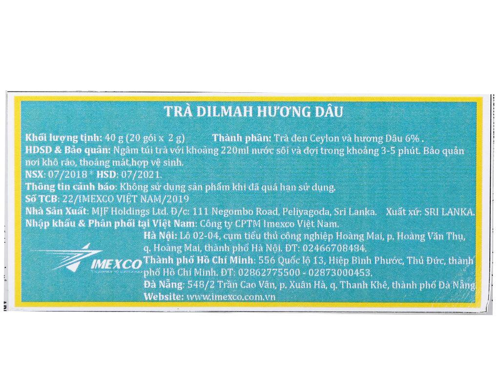 Trà Ceylon Dilmah hương dâu hộp 40g 6