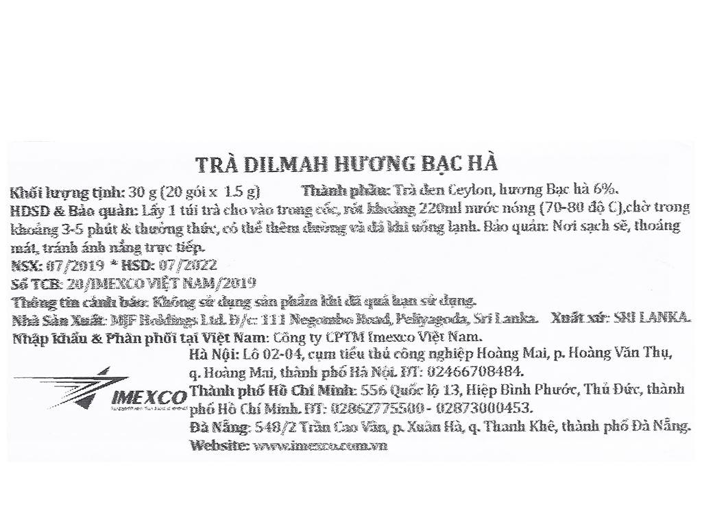 Trà Ceylon Dilmah hương bạc hà hộp 30g 5