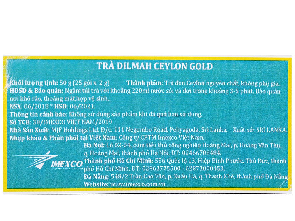 Trà Dilmah Ceylon Gold hộp 50g (2g x 25 túi) 6
