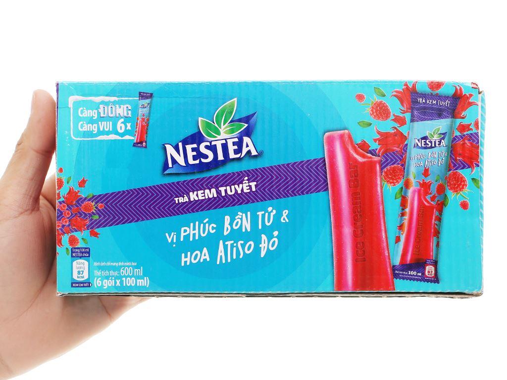 Trà kem tuyết Nestea vị Phúc bồn tử và hoa Atisô đỏ hộp 600ml 12