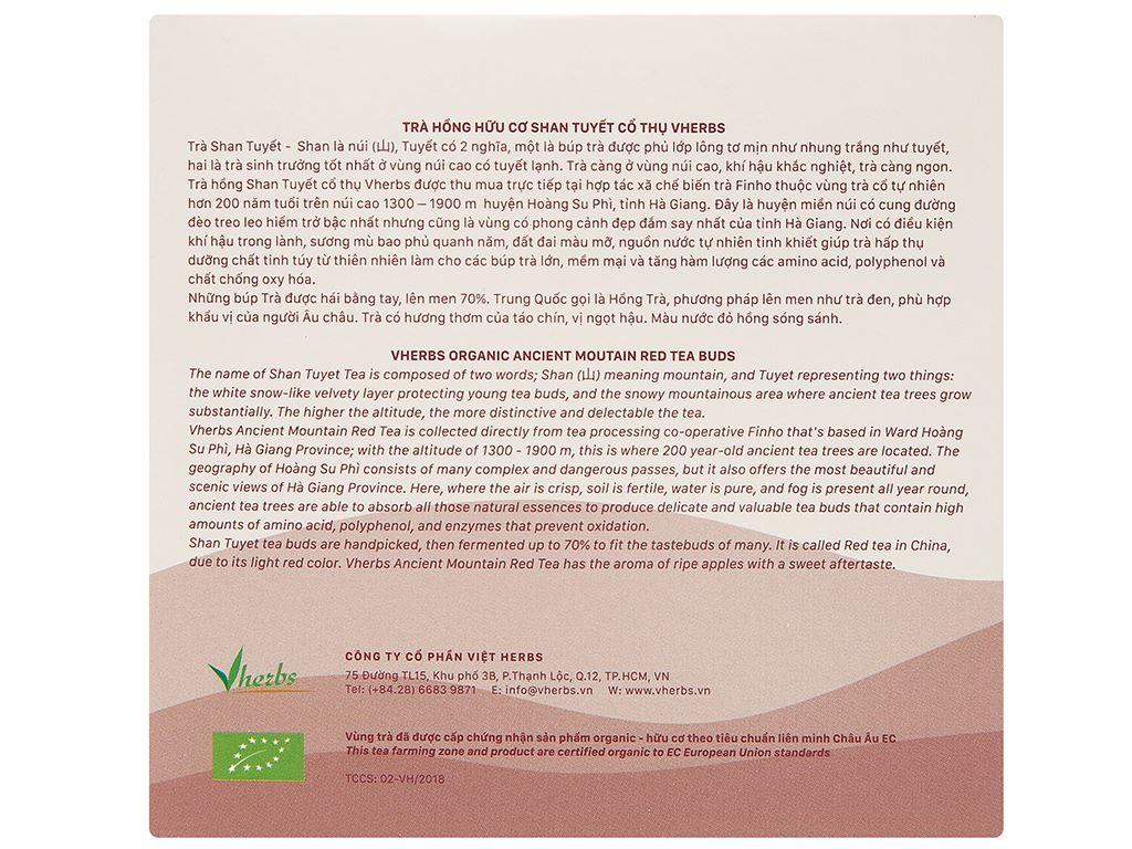 Trà hồng hữu cơ Vherbs Shan Tuyết Cổ Thụ hộp 49g 2