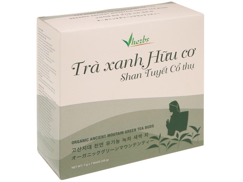 Trà xanh hữu cơ Vherbs Shan Tuyết Cổ Thụ hộp 49g 1
