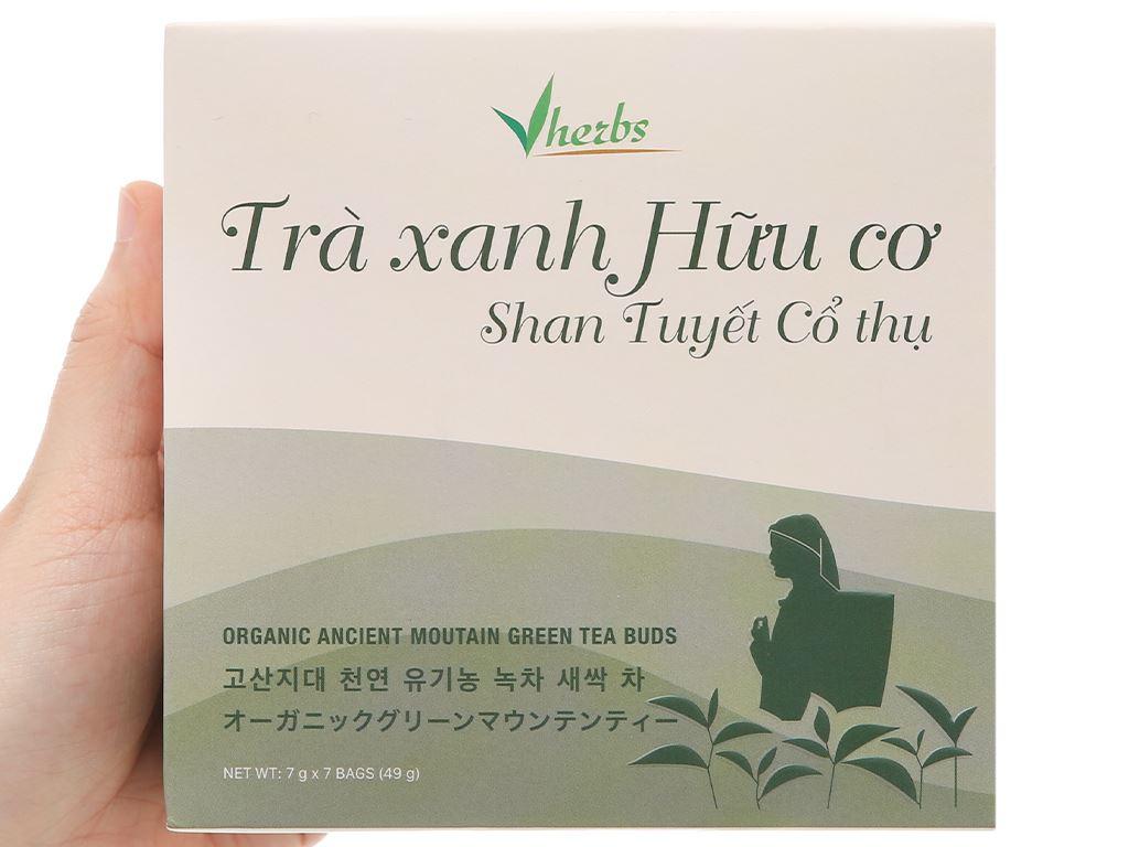 Trà xanh hữu cơ Vherbs Shan Tuyết Cổ Thụ hộp 49g 2