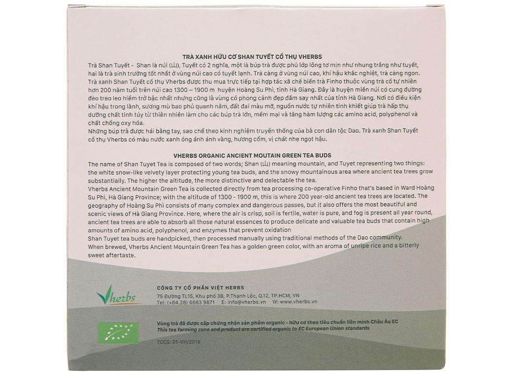 Trà xanh hữu cơ Vherbs Shan Tuyết Cổ Thụ hộp 49g 3
