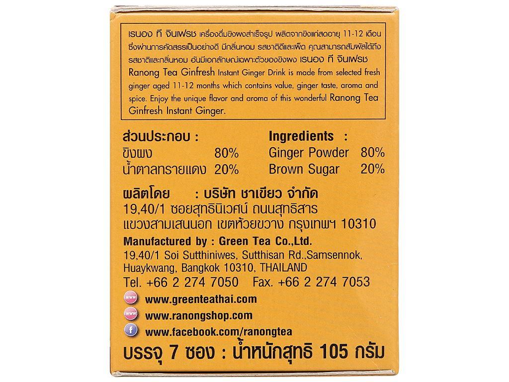 Bột trà gừng đậm đà Ranong Tea hộp 105g 3