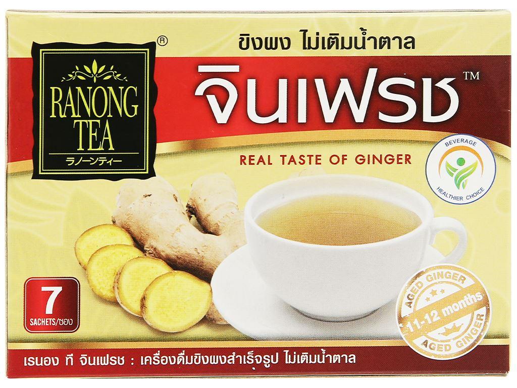 Bột trà gừng 100% không đường Ranong Tea hộp 35g 3
