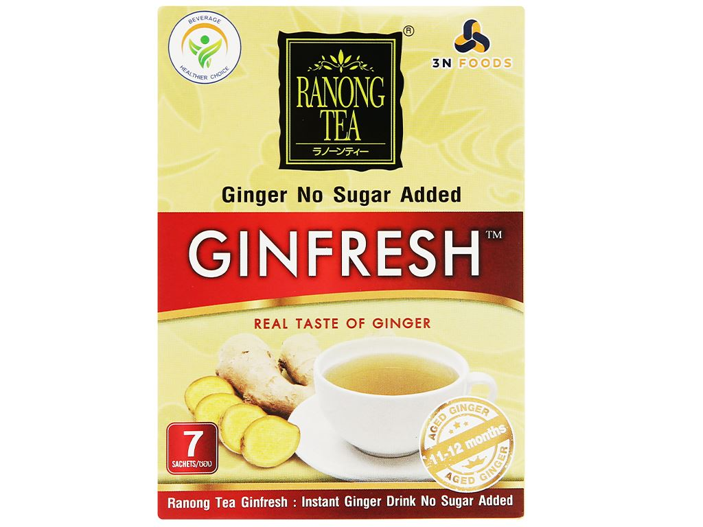 Bột trà gừng 100% không đường Ranong Tea hộp 35g 4