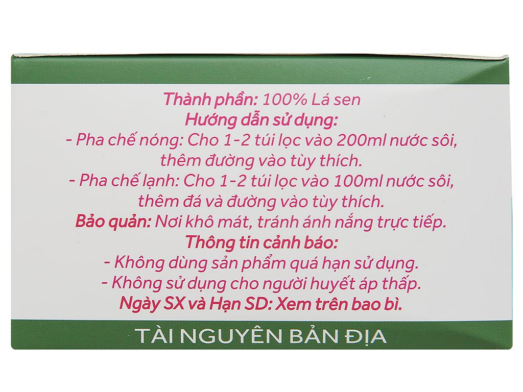Trà túi lọc lá sen thanh an Sen Việt hộp 60g 4