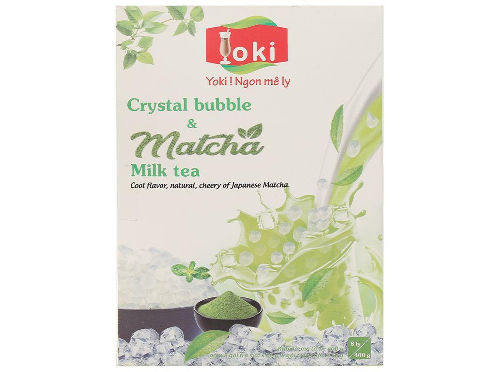 Trà sữa matcha trân châu thuỷ tinh Yoki hộp 400g 3