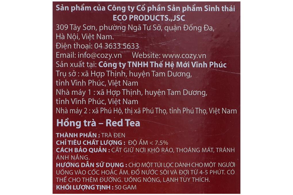 Trà Cozy Hương Bạc Hà túi lọc 2g (hộp 25 gói)