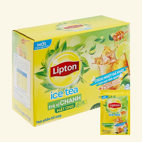 Trà chanh Lipton hòa tan tươi mát tỉnh người thêm 25% hương vị hoa quả hộp 16 túi 14g