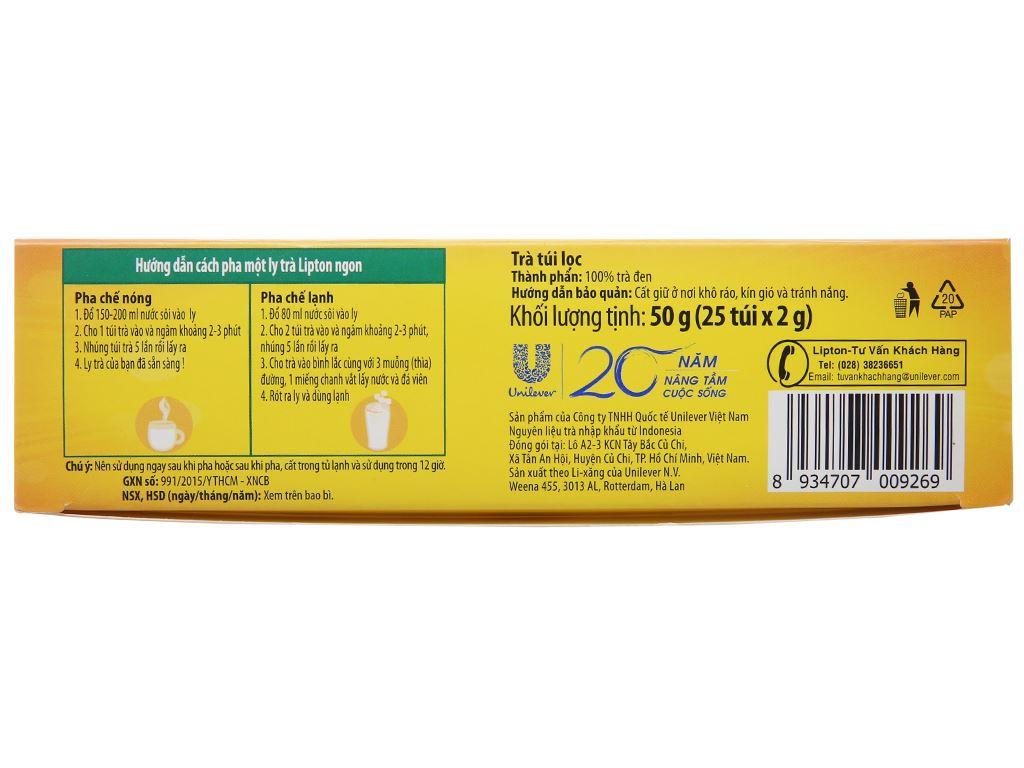 Trà đen Lipton nhãn vàng hộp 50g (2g x 25 túi) 2