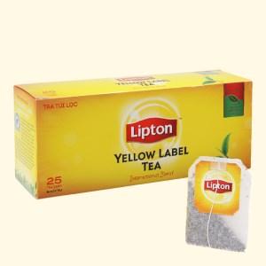 Trà đen túi lọc Lipton nhãn vàng 100% lá trà tươi thiên nhiên 25 túi 2g