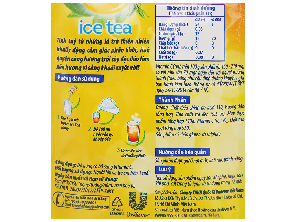 Trà Lipton Ice Tea vị đào 224g 11
