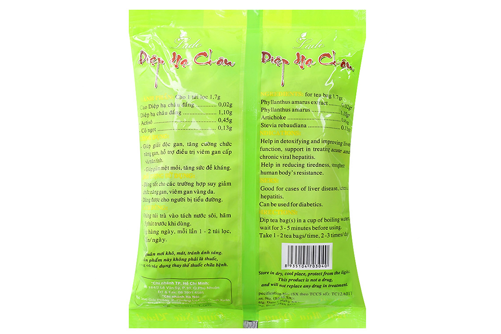 Trà túi lọc Diệp Hạ Châu Ladophar 1,7g (bịch 100 gói)
