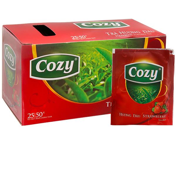 Trà hương dâu Cozy hộp 25 gói 50g