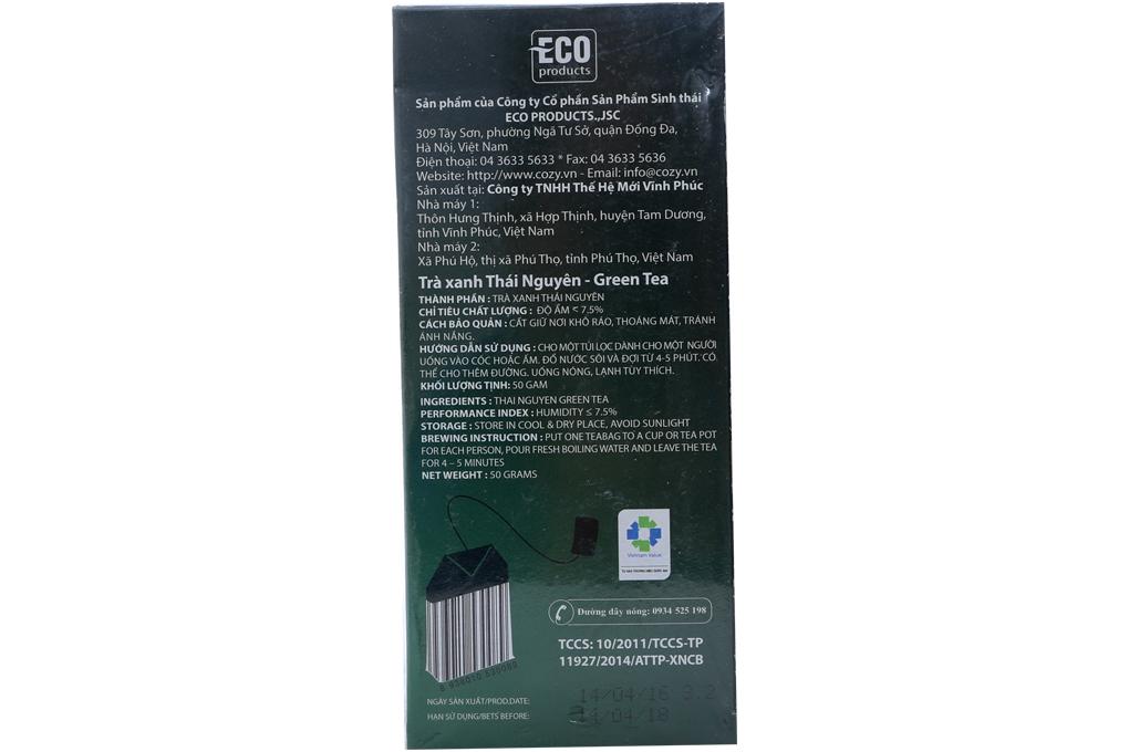 Trà xanh Cozy túi lọc 2g (hộp 25 gói)
