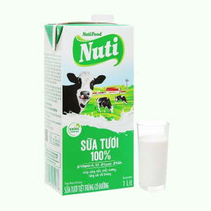Sữa tươi tiệt trùng có đường Nuti 100% Sữa Tươi hộp 1 lít