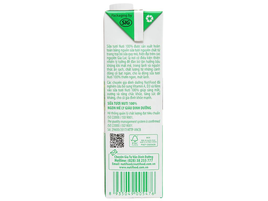 Sữa tươi tiệt trùng có đường Nuti 100% Sữa Tươi hộp 1 lít 5