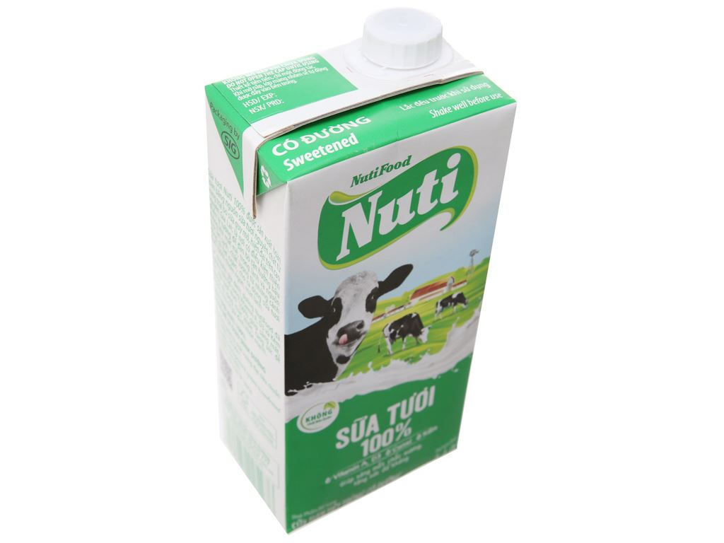 Sữa tươi tiệt trùng có đường Nuti 100% Sữa Tươi hộp 1 lít 3