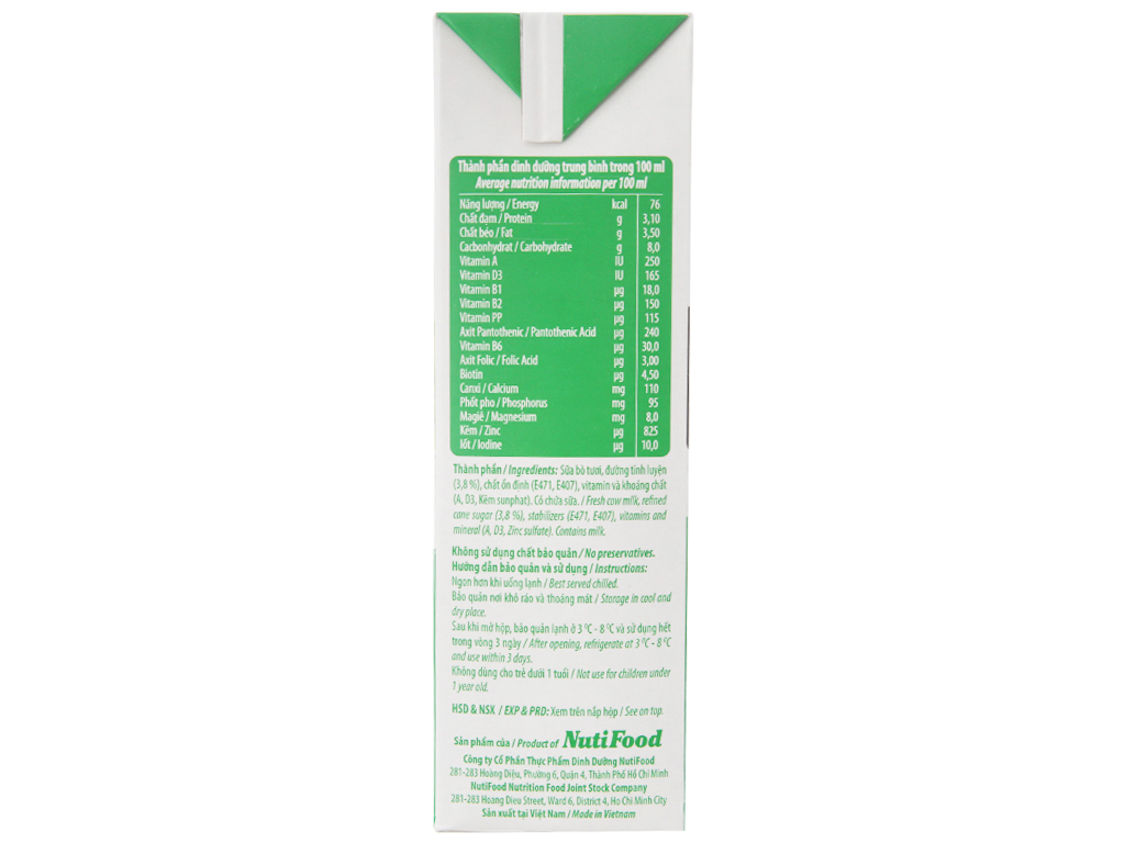 Sữa tươi tiệt trùng Nuti có đường hộp 1 lít 5
