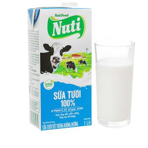 Sữa tươi tiệt trùng không đường Nuti 100% Sữa Tươi hộp 1 lít