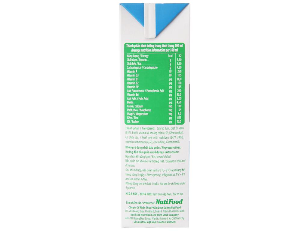 Sữa tươi tiệt trùng Nuti không đường hộp 1 lít 5