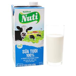 Sữa tươi tiệt trùng Nuti không đường hộp 1 lít