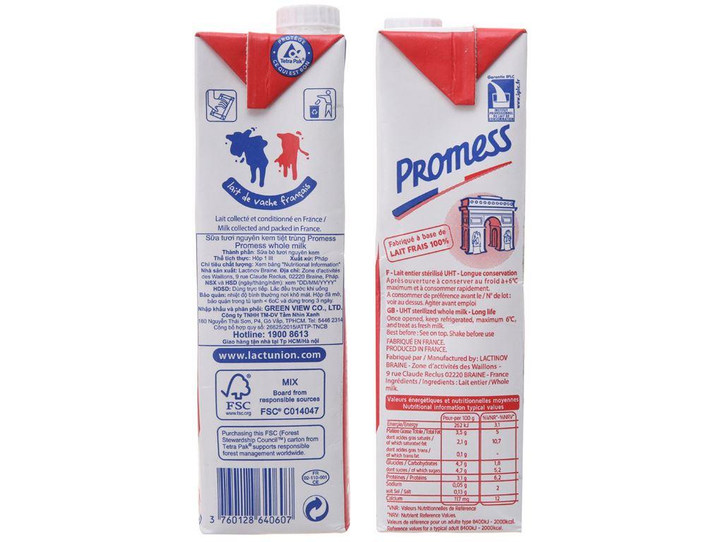 Sữa tươi tiệt trùng nguyên kem Promess Whole Milk hộp 1 lít 5