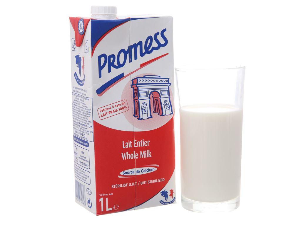 Sữa tươi tiệt trùng nguyên kem Promess Whole Milk hộp 1 lít 2