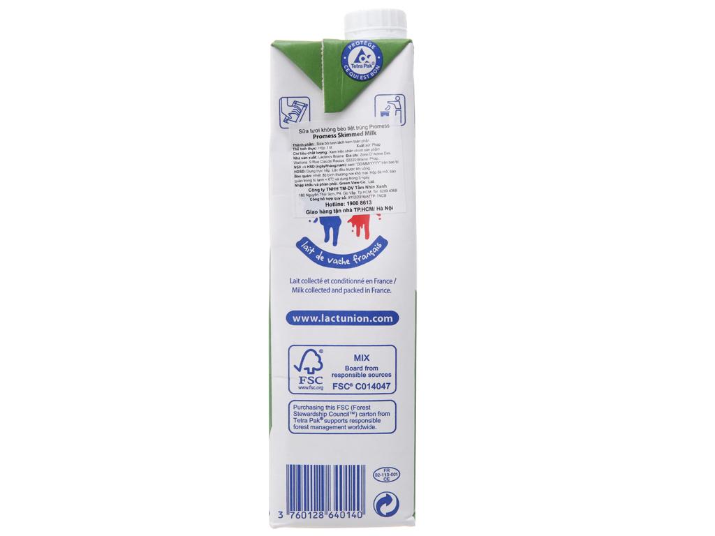 Sữa tươi tiệt trùng Promess skimmed milk không đường hộp 1 lít 4