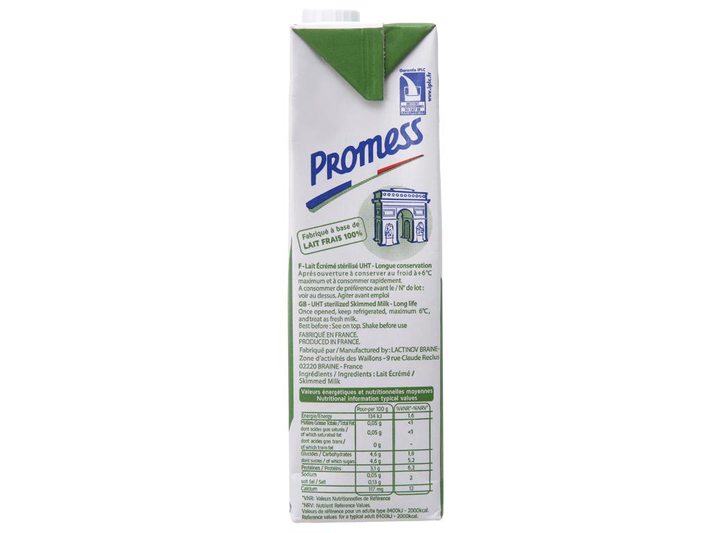 Sữa tươi tiệt trùng Promess skimmed milk không đường hộp 1 lít 5