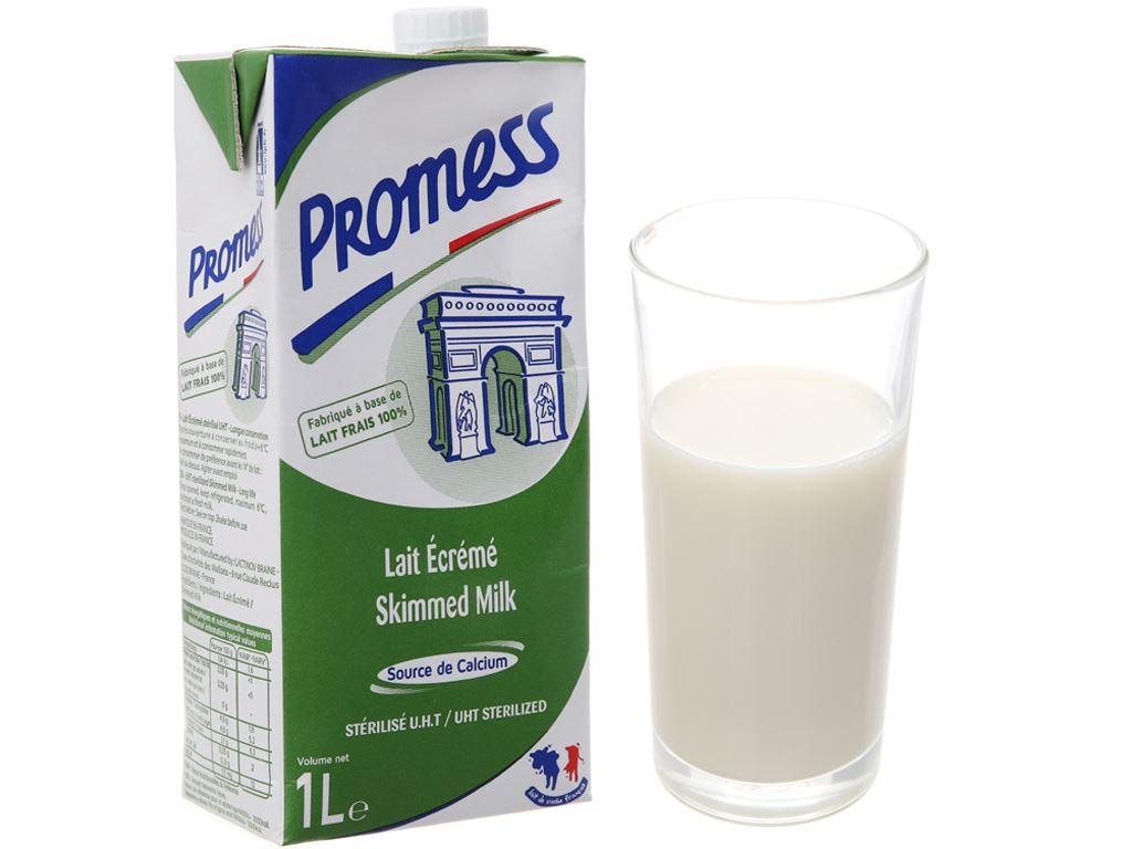 Sữa tươi tiệt trùng Promess skimmed milk không đường hộp 1 lít 2