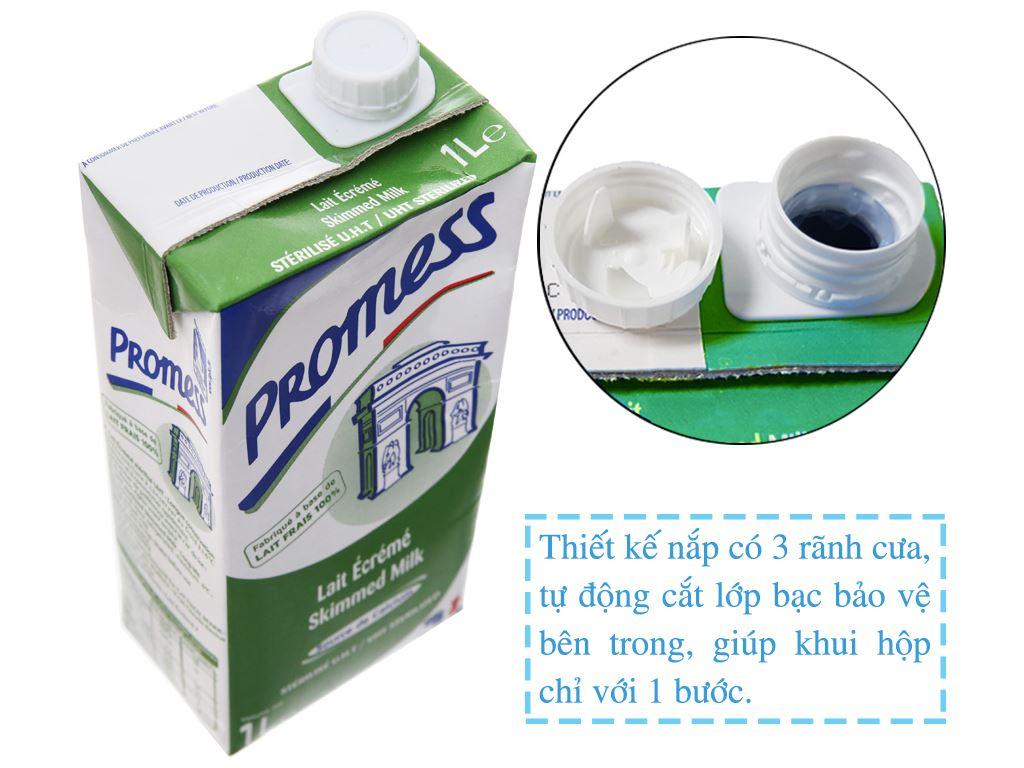 Sữa tươi tiệt trùng Promess skimmed milk không đường hộp 1 lít 3