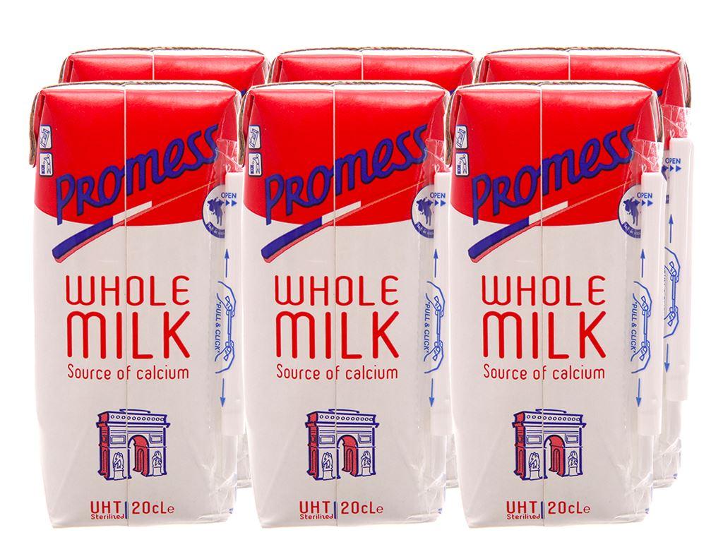 Lốc 6 hộp sữa tươi tiệt trùng Promess whole milk nguyên kem không đường 200ml 1
