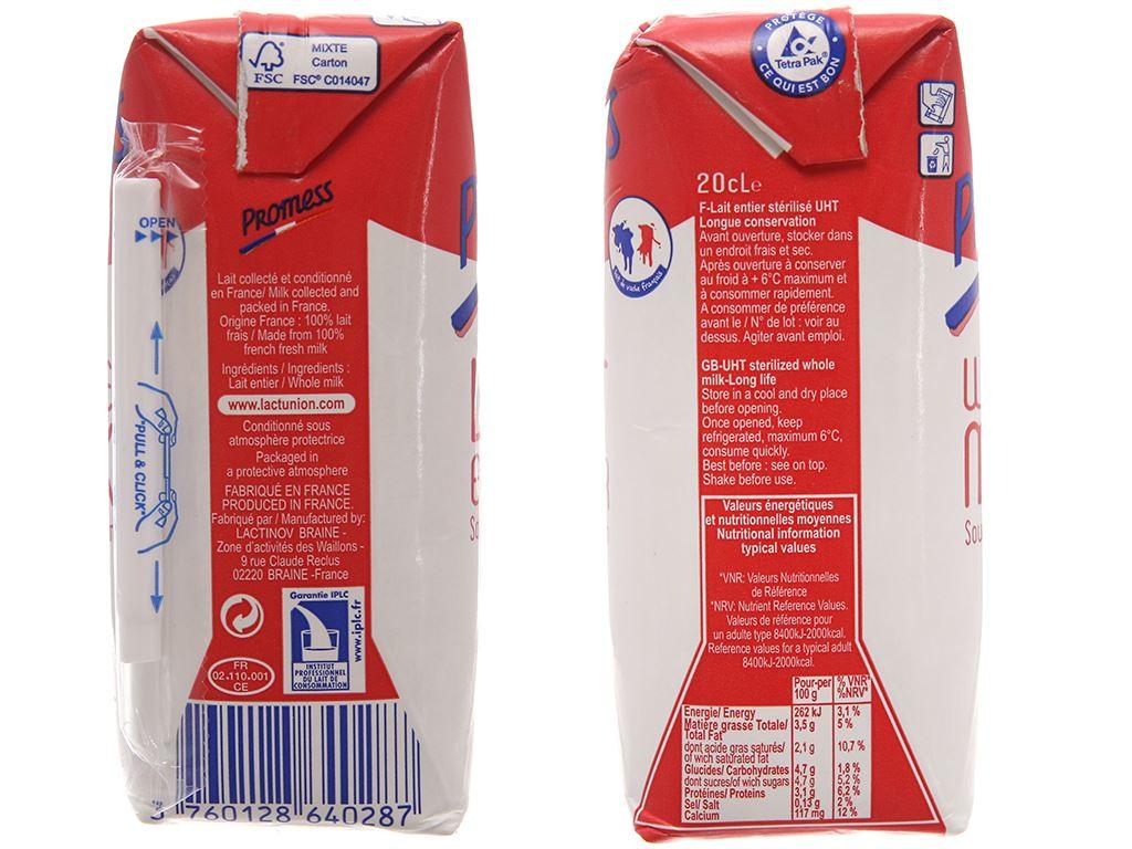 Lốc 6 hộp sữa tươi tiệt trùng Promess whole milk nguyên kem không đường 200ml 3