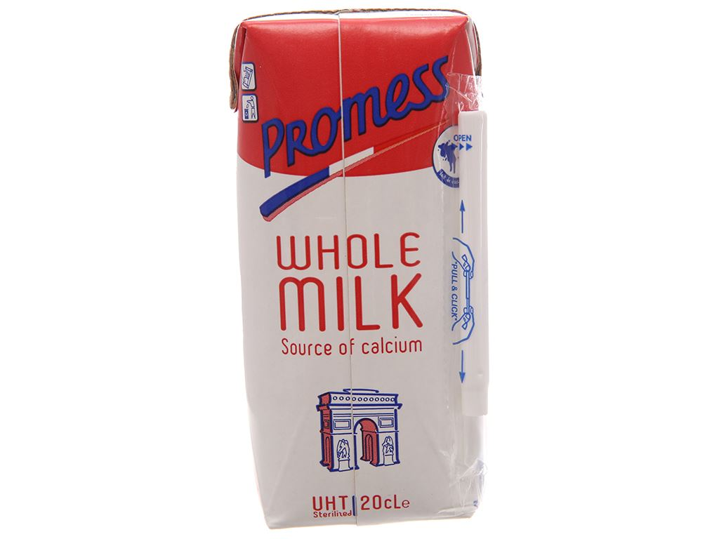 Sữa tươi tiệt trùng Promess whole milk không đường hộp 200ml 2