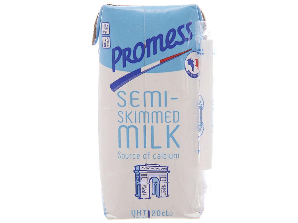 Sữa tươi tiệt trùng Promess Semi-Skimmed ít béo hộp 200ml 2