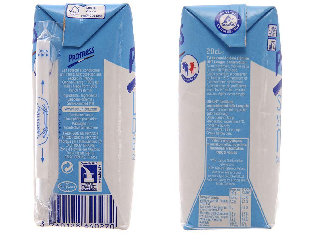 Sữa tươi tiệt trùng Promess Semi-Skimmed ít béo hộp 200ml 3