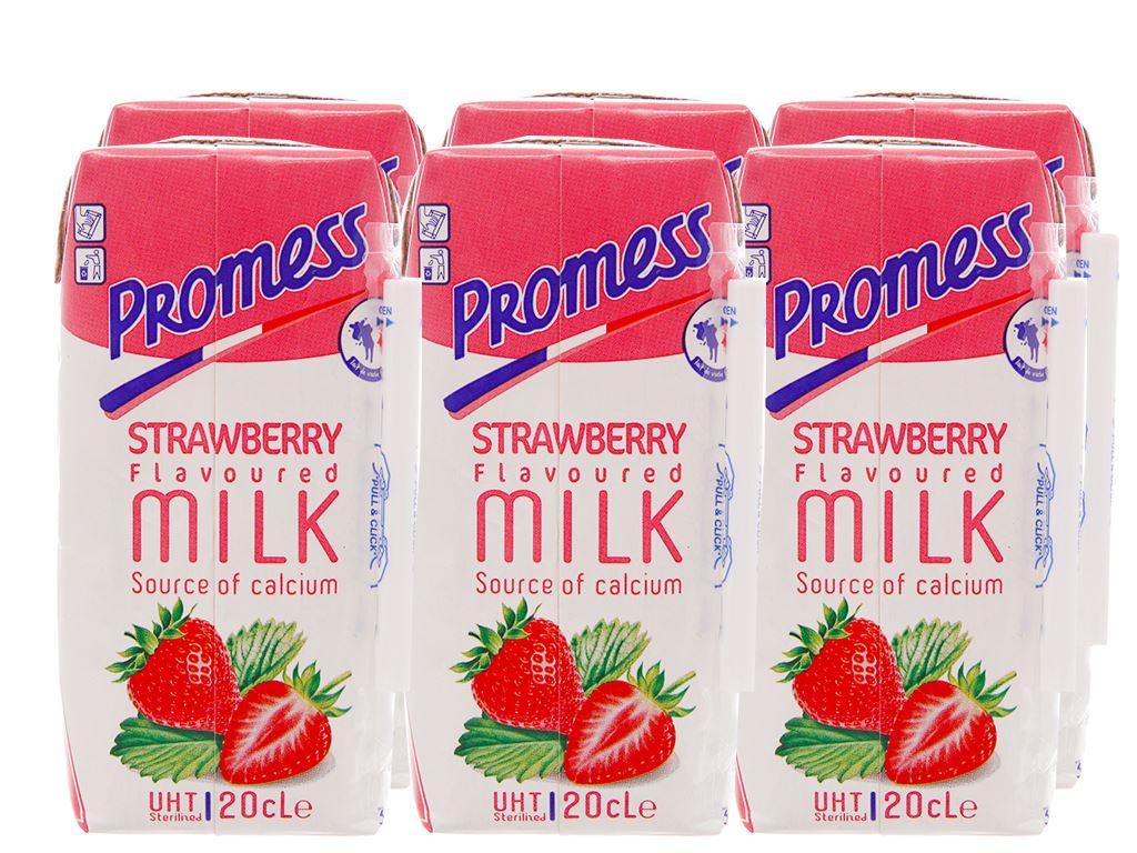 Lốc 6 hộp sữa tươi tiệt trùng hương dâu Promess 200ml 1