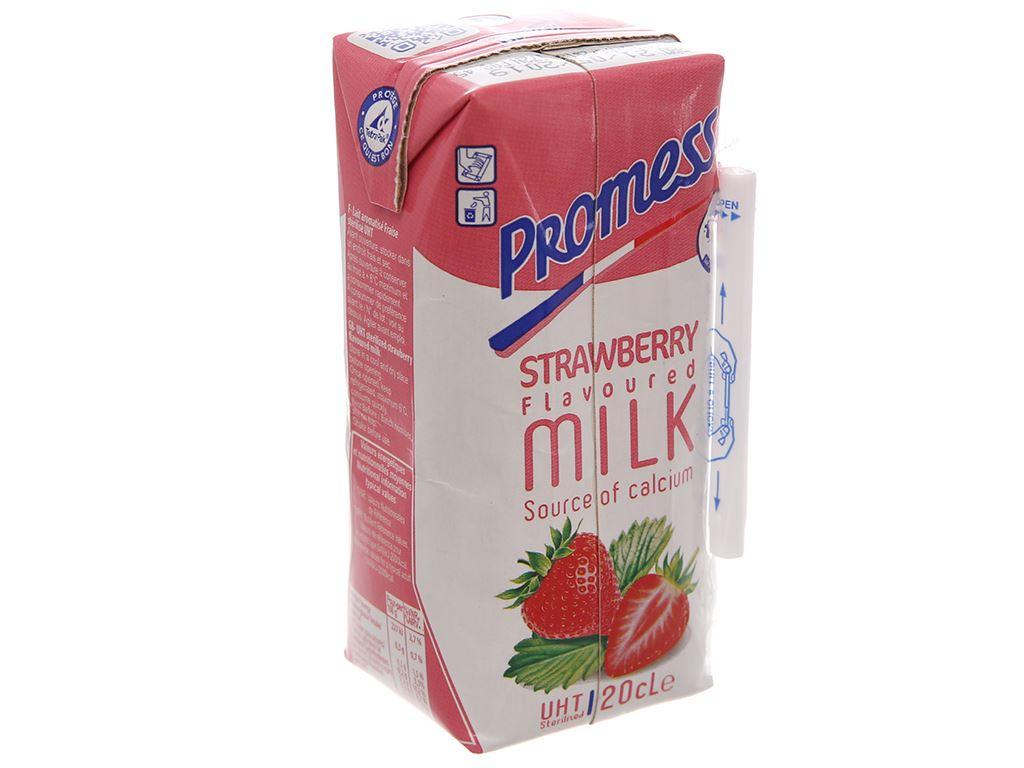 Sữa tươi tiệt trùng Promess hương dâu hộp 200ml 2