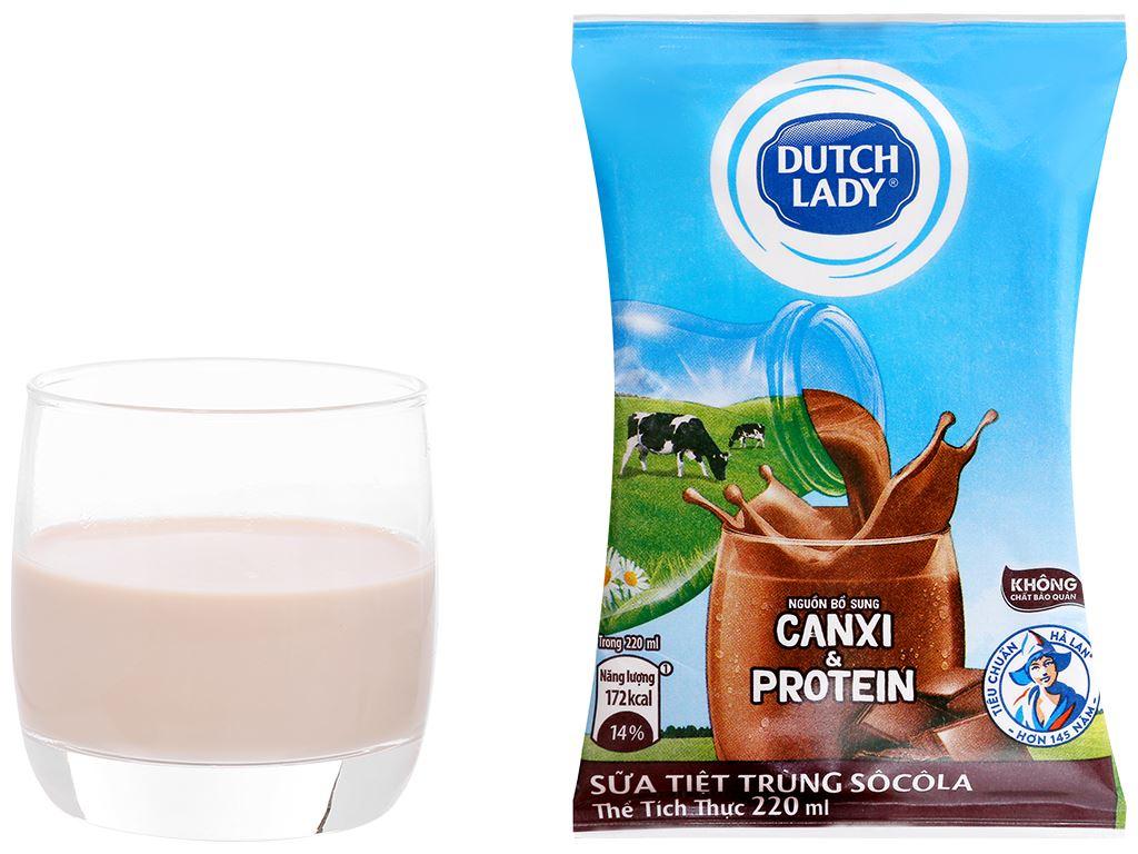 Sữa tiệt trùng socola Dutch Lady Canxi & Protein 220ml 8
