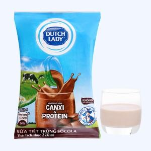 Sữa tiệt trùng socola Dutch Lady Canxi & Protein bịch 220ml