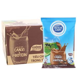 Thùng 48 bịch sữa tiệt trùng Dutch Lady Canxi & Protein sô cô la 220ml