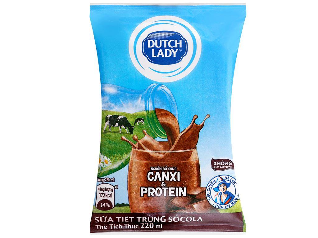 Thùng 48 bịch sữa tiệt trùng Dutch Lady Canxi & Protein sô cô la 220ml 5