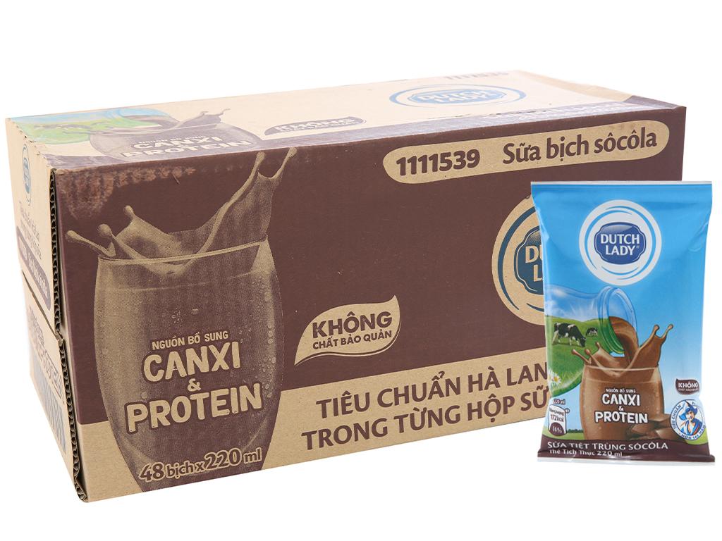 Thùng 48 bịch sữa tiệt trùng Dutch Lady Canxi & Protein sô cô la 220ml 1