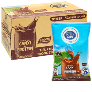 Thùng 48 bịch sữa tiệt trùng socola Dutch Lady Canxi & Protein 220ml