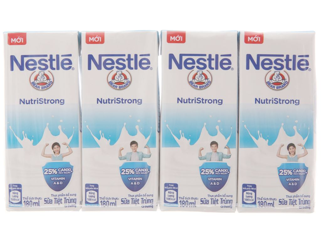 Lốc 4 hộp sữa tiệt trùng có đường Nestlé NutriStrong 180ml 2