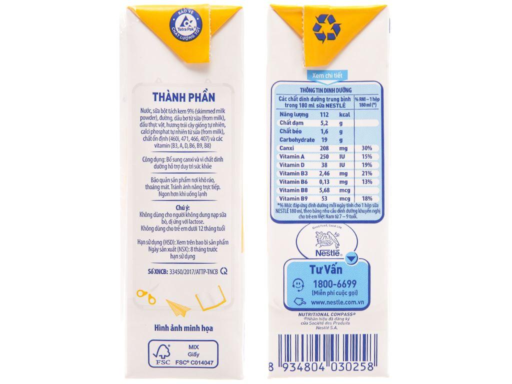 Lốc 4 hộp sữa tiệt trùng hương trái cây Nestlé NutriStrong 180ml 5